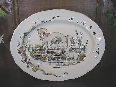 "ANTIQUE RARE Copeland AESOP'S FABLES ""YE WOLF & YE LAMB"" PLATTER - 13"" coloured"