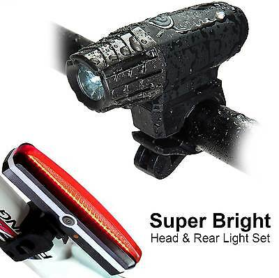 USB Rechargeable 360° Rotation Bike Bicycle Head & Rear Light Set Cycling Lamps