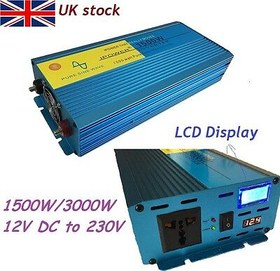 Car Boat 1500W/3000W Pure Sine Wave Power Inverter Soft Start 12V DC LCD Display