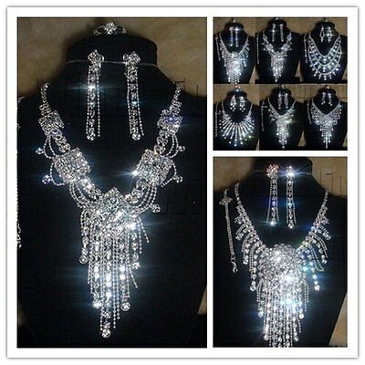Rhinestone Crystal Necklace Earrings Bracelet Ring Set For Wedding Bridal Silver