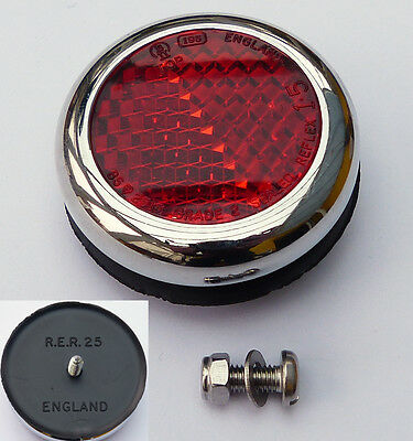 Lucas Type RER25 Red Reflector & Chrome Rim, for Classic Car or Motorcycle