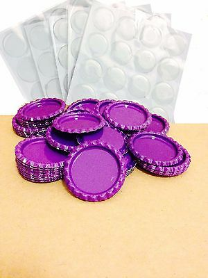 Pack of 100 Flat Purple Bottle Caps Craft and 100 Epoxy Clear Resin Domes/Dots