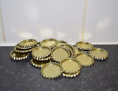 Pack of 50 Flat Gold Bottle Caps Craft and 50 Epoxy Clear Resin Domes/Dots