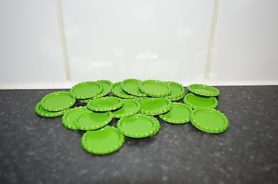Pack of 100 Flat Green Bottle Caps Craft and 100 Epoxy Clear Resin Domes/Dots