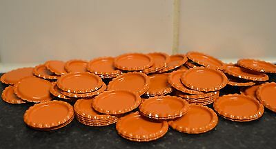 Pack of 100 Flat Orange Bottle Caps Craft and 100 Epoxy Clear Resin Domes/Dots