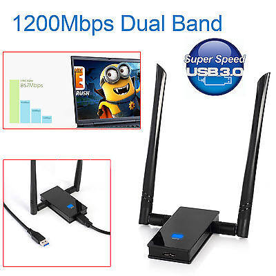 1200Mbps Wireless USB Adapter 802.11ac Dual Band 2.4/5GHz WiFi Network Dongle UK
