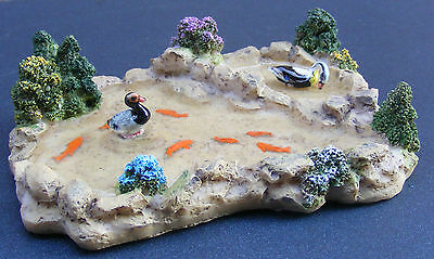 1:12 Scale Pond + Gold Fish & Ducks Dolls House Miniature Garden Accessory