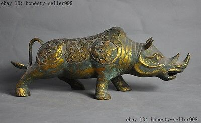 """12""""Old Chinese Fengshui bronze gilt Dragon beast rhinoceros oxen bull sculpture"""