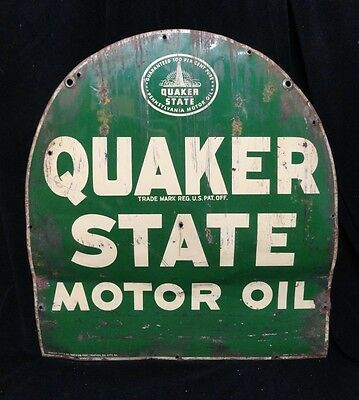 Original (1956) QUAKER STATE MOTOR OIL * TOMBSTONE (2) SIDED SIGN not PORCELAIN