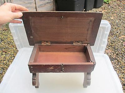 Small Vintage Wooden Stool Bench Seat Secret Compartment Storage Box Kids Old