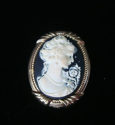 "Vintage Cream Black Goldtone Faux Cameo Lady Bust Oval Brooch 1.5""  Portrait Pin"
