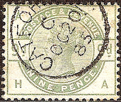 1883-84 SG195 GB QUEEN VICTORIA 9d DULL GREEN FINE USED