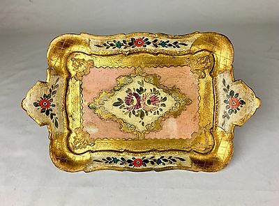 Gorgeous Vintage Antique Italian Hand Painted Gilt Wood Tray