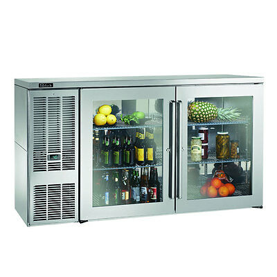 """Perlick BBS60GS-S 60"""" Two Section Refrigerated Back Bar Cabinet With Glass Doors"""