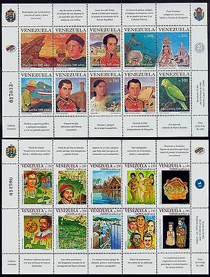 Venezuela 1998 Stamps Sc1585 - 1594 Discovery Colón, Parrot Two Sheet