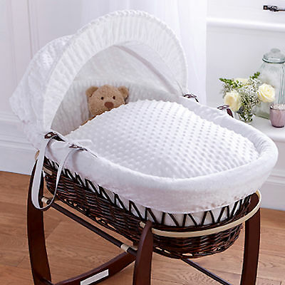 New Clair De Lune White Dimple Padded Dark Wicker Baby Moses Basket & Mattress