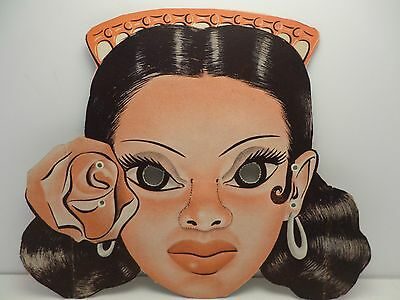 Vintage 30's 40's die cut cardboard Halloween mask Flemenco Spanish dancer