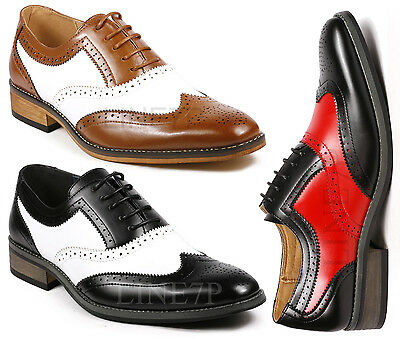 Men's Two Tone Perforated Wing Tip Lace Up Fashion Oxford Dress Shoes