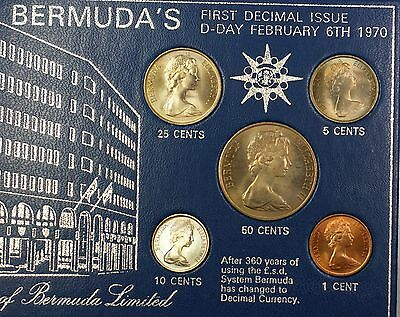 1970 Bermuda Uncirculated First Year Decimal Currency 5 Coin Uncirc Set NO CASE