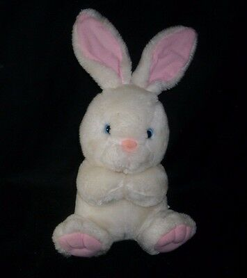 "13"" Vintage White Bunny Rabbit Pink Ears Nose & Feet Stuffed Animal Plush Toy"
