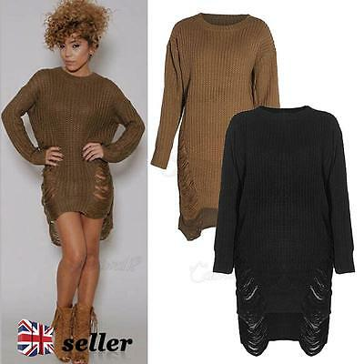 UK Womens Long Sleeve Sweater Oversized Ladies Knitted Jumper Winter Dress 8-14