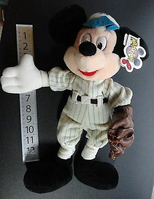 "Old 14"" Disney Mickey Mouse Baseball Hat & Mitt Plush Sports Toy with Tag"