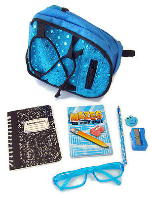 "NEW! Teal Backpack School Supplies Set for 18"" American Girl Dolls Accessories"
