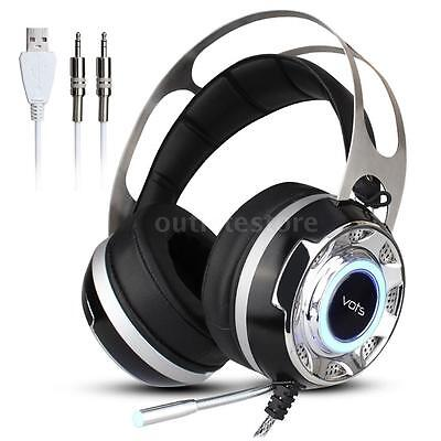 VOTS Virtual 7.1 Surround Stereo Gaming Headset Headphone Vibration w/Mic U7E5