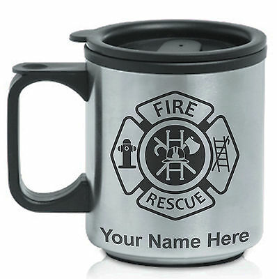 Coffee Travel Mug, Fire Rescue Fireman, Personalized Engraving Included
