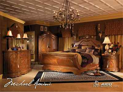 CORTINA LUXURY KING Bed Carved Wood 7 Piece Bedroom Set w ...