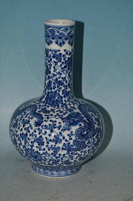 A Important Chinese Qing Dynasty Blue and white lotus flower dragon tree