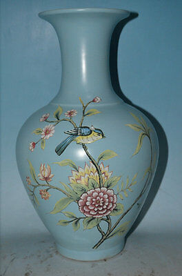 A Large and Important Chinese qing Dynasty blue glaze painting of flowers bottle