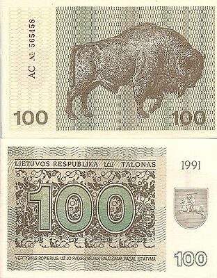 Lithuania P38b, 100 Talonas, arms / bison (buffalo), 1991  $10 Cat.Value, UNC