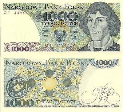 Poland P146c, 1000 Zlotych, Copernicus / planetary system, 1982, Uncirculated