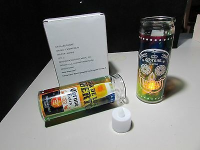 2 Corona Extra Day of the Dead Dia De Los Muertos Beer Candles Battery Operated
