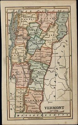 Vermont state by itself 1854 uncommon lovely Phelps antique hand color map