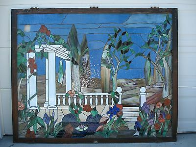 HUGE ANTIQUE STAINED LEADED GLASS 5' x 6' GARDEN PERGOLA FOLIAGE WINDOW PANEL !!