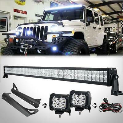 "52""Inch 700W+4"" 18W LED Light Bar+Mount Bracket Fit For Jeep Wrangler YJ 1987~95"