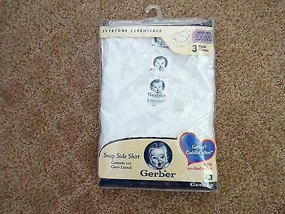 Brand New 3 Pk Newborn Gerber 100% Combed Cotton White Snap Side Shirts