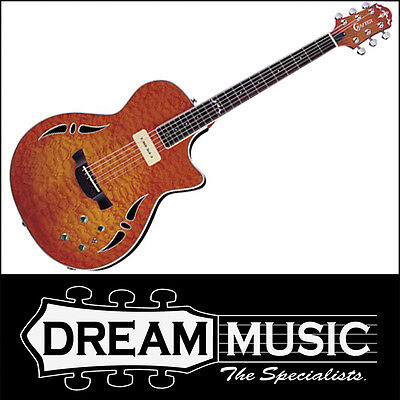 Crafter SAT-QMOS Slim Arch P90 Quilted Maple Electric Guitar w/Case RRP$1499