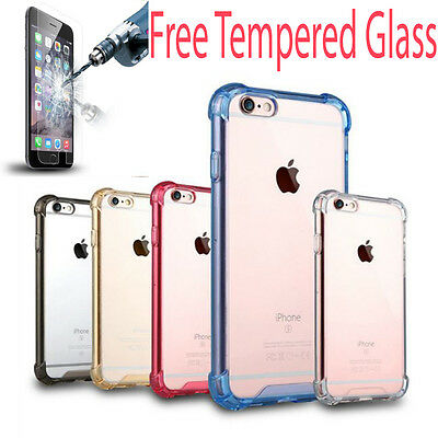 For iPhone SE 5s 6s 7 Clear Hard Back Case Silicone Shock Absorber Bumper Cover