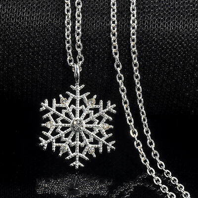 Xmas Charm Frozen Snowflake Crystal Necklace Pendant Chain Christmas Jewelry New