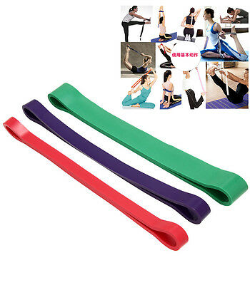 Set Of 3 Heavy Duty Resistance Band Loop Power Gym Fitness Exercise Yoga Workout
