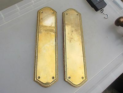 Vintage Brass Finger Plates Push Door Handle Rope Edge Architectural Antique Old
