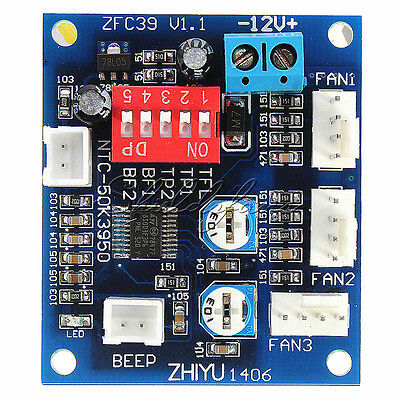 DC 12V PWM PC CPU Fan Temperature Control Speed Controller Board 5*4.3CM NEW!