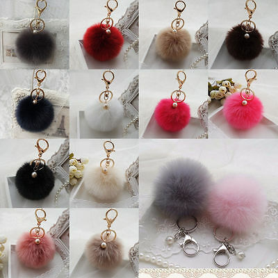 Rabbit Fur Ball PomPom Cell Phone Car Keychain Pendant Charm Handbag Key Ring