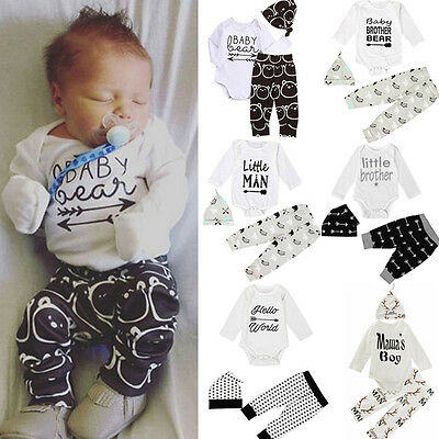 3PCS Set Newborn Baby Girl Boy Clothes Romper Shirt Tops+Long Pants+Hat Outfits