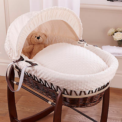 New Clair De Lune Cream Dimple Padded Dark Wicker Baby Moses Basket & Mattress