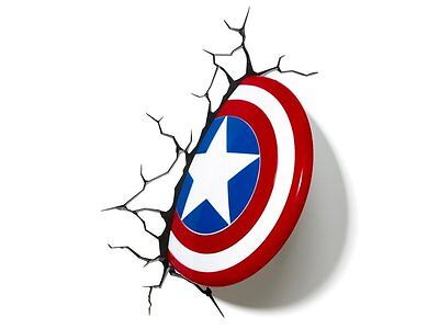 3D LED Captain America Shield Wall Light - Children Night - Marvel Superheros