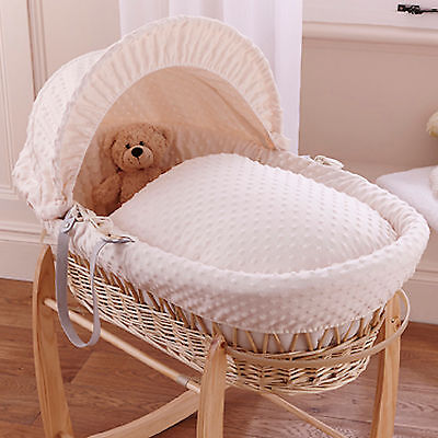 Clair De Lune Cream Dimple Padded Natural Wicker Baby Moses Basket & Mattress
